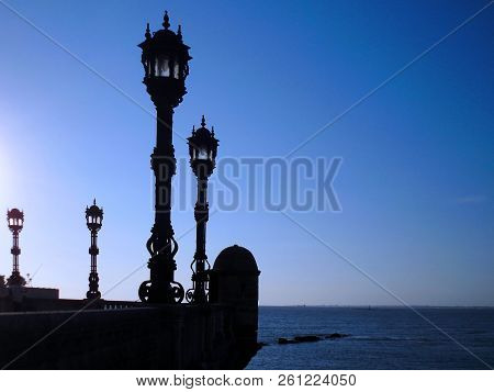 Lampposts Of Light In The Gardens Of Alameda Capital Of Apodaca In Cádiz, Andalusia. Spain Europe.