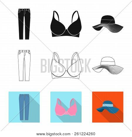 Isolated Object Of Woman And Clothing Symbol. Collection Of Woman And Wear Vector Icon For Stock.