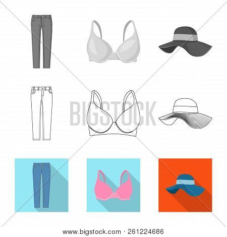 Isolated Object Of Woman And Clothing Logo. Collection Of Woman And Wear Stock Symbol For Web.