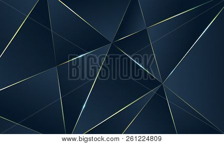 Dark Blue Premium Background With Luxury Polygonal Pattern And Gold Triangle Lines. Low Poly Gradien