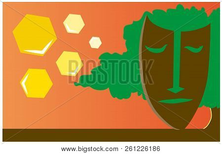 Illustration Of Africa.  Illustration Of A View Of Nature And African Mask.