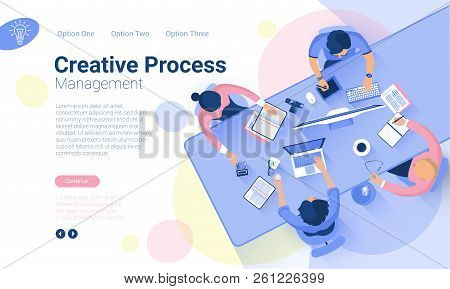 Flat Design  Web Page Template For Creative Business  Process And  Business Strategy. Trendy Vector