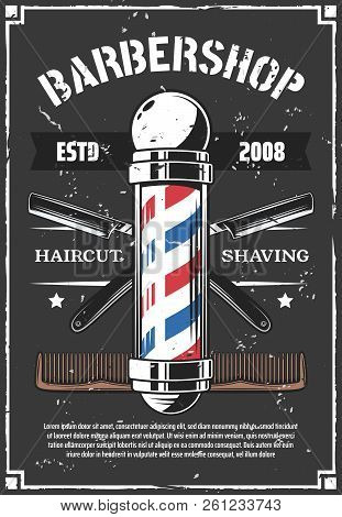 Barbershop Retro Poster With Sharp Old Razor. Haircut And Beard Styling, Shaving Salon For Men Or Hi