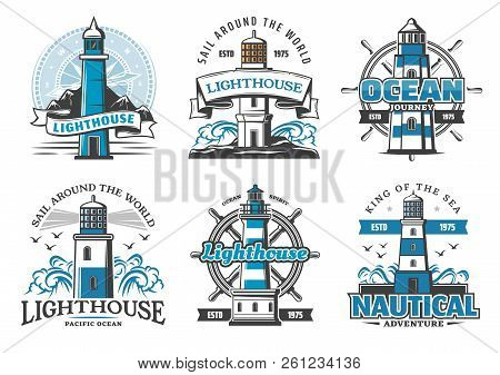 Lighthouse And Nautical Adventure Icons. Rudder Wheel And Seagulls, Marine Beacon Signal Tower On Cl