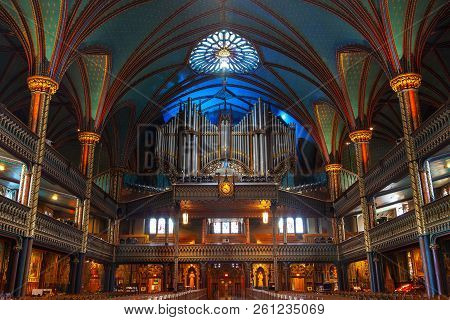 Montreal, Canada - Aug 20, 2012: The Great Casavant Organ At Notre Dame Basilica, Montreal, Features