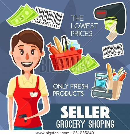 Shop Seller Or Cashier Professional Poster For Grocery Shopping, Purchases On Cash Desk. Vector Of B