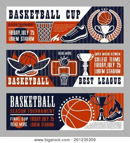 Basketball Sport League Banner With Trophy Cup And Ball. Vintage Brochure For Basketball Championshi