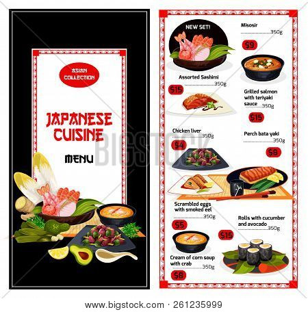 Japanese Cuisine Food Menu. Misosir And Sashimi, Grilled Salmon With Teriyaki And Chicken Liver, Per