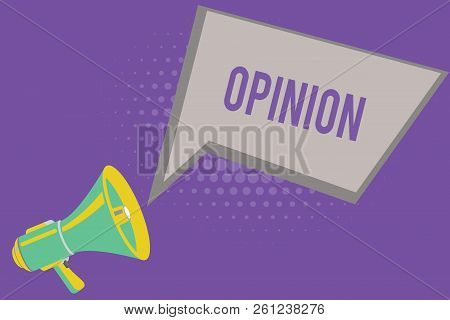 Text Sign Showing Opinion. Conceptual Photo Judgment Formed About Something Advice From Expert Evalu