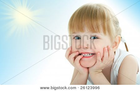 beauty baby face on white background