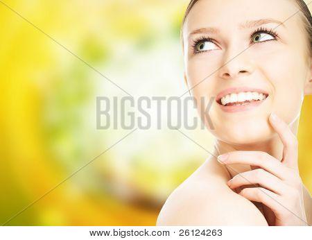 beauty close-up portrait young woman face