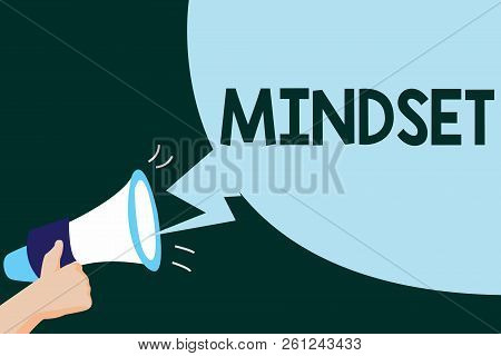 Writing Note Showing Mindset. Business Photo Showcasing Established Set Of Attitudes Held By Someone