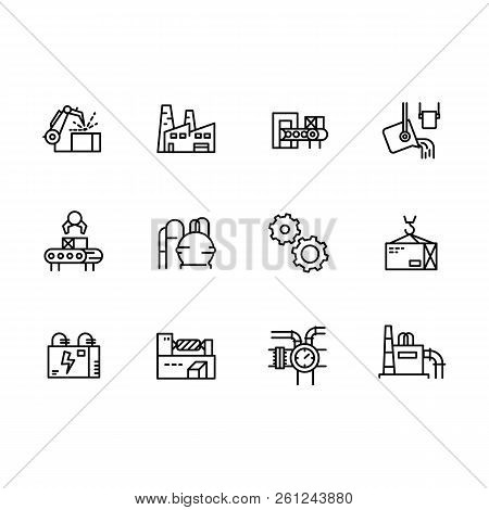 Simple Set Industry, Production And Factory Vector Line Icon. Contains Such Industrial Machines, Man