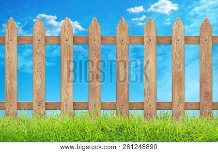 Wooden Fence With Grass And Sky. Clipping Path. 3d Rendering