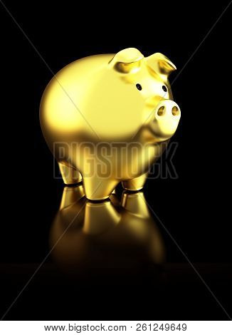 Golden Shiny Piggy Bank On Black Reflective Background. 3d Rendering