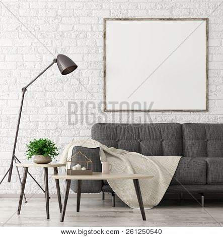 Modern Interior Of Living Room With Black Sofa, Wooden Coffee Tables And Mock Up Poster On The Brick