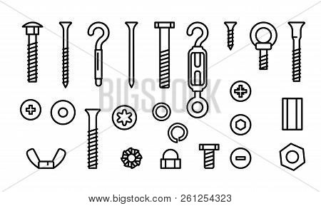 Simple Set Construction Hardware Vector Line Icons. Screws, Bolts, Nuts And Rivets. Equipment Stainl