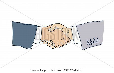Business Handshake. Man's Hands. Deal. The Concept Of The Transaction.