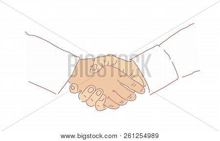 Business Handshake. Concept Of The Man's Hands. Deal.