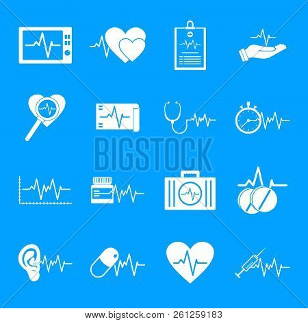 Heart Pulse Beat Icons Set. Simple Illustration Of 25 Heart Pulse Beat Icons For Web
