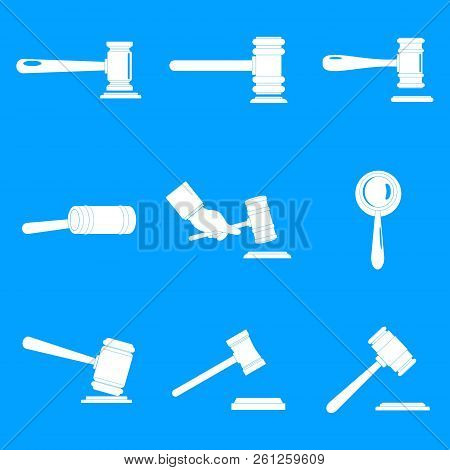Judge Hammer Icons Set. Simple Illustration Of 9 Judge Hammer Icons For Web