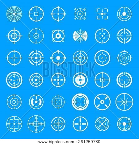 Crosshair target scope sight icons set. Simple illustration of 36 crosshair target scope sight icons for web poster