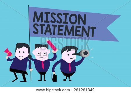 Conceptual Hand Writing Showing Mission Statement. Business Photo Text Formal Summary Of The Aims An
