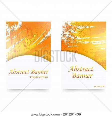 Set Of Orange Watercolor Banners. Isolated On White Background.