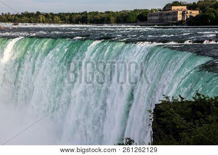 NIAGARA FALLS, ONTARI, CANAD - MAY 27, 2016.  Niagara Falls view from canadian side from Ontario, Canada seen in Niagara Falls.