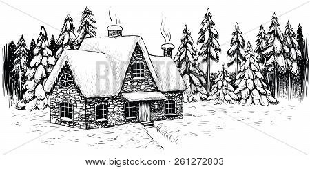 Winter House Surrounded By Firs And Pines, Covered With Snow. Christmas Idyllic Landscape.