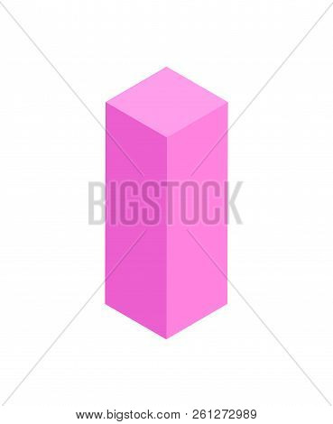 Cube With Squared Base 3 Dimensional Geometric Figure Of Pink Color, 3d Shape, Rectangle Object And