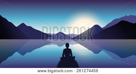 Person Enjoy The Silence At Lake With Mountain View In The Dusk Vector Illustration Eps10
