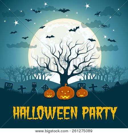 Halloween Party Poster With Dead Tree At Blue Moon Ball Background And Bats Flying Over Graves Flat