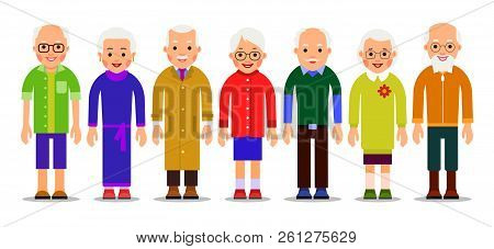 Group older people. Adults person stand next to each other. Elderly men and women. Aged citizens caucasian. Illustration of people characters isolated on white background in flat style.. poster