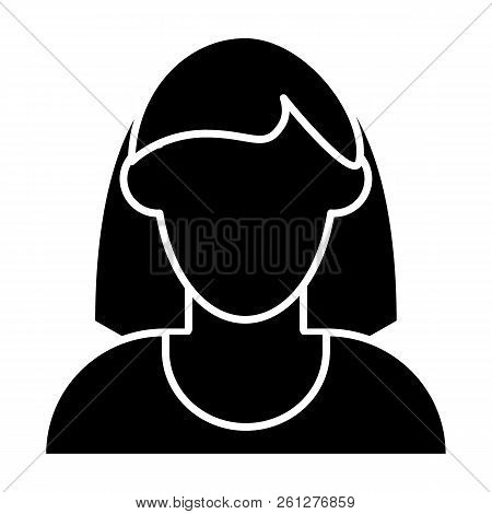 Woman Faceless Avatar With Shoulder Length Hair Solid Icon. Default Profile  Vector Illustration Isol 6de7192e07a5