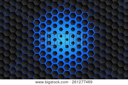 Black Abstract Digital Hi Tech Concept Background. Futuristic Hexagon And Blue Light Vector Illustra