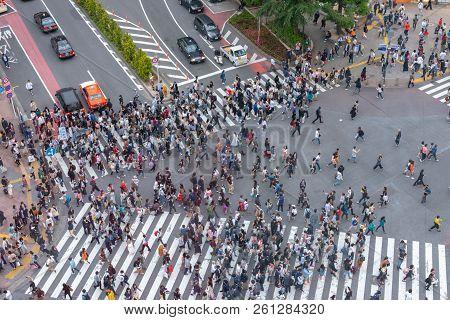 Shibuya, Tokyo, Japan - April 30, 2018: Pedestrians Crosswalk At Shibuya District In Tokyo, Japan. S