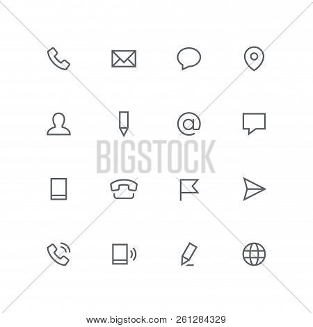 Main Outline Icon Set - Phone, Envelope, Chat, Address, Man, Pen, Mail, Message, Mobile, Flag, Airpl