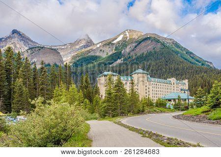 Louise Lake,canada - June 30,2018 - Chateau Lake Louise In Nature Of Candadian Rocky Mountain. Lake