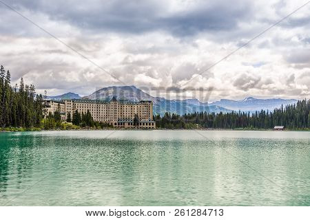Louise Lake,canada - June 30,2018 - Chateau Lake Louise And Lake Louis In Nature Of Candadian Rocky