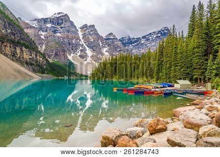 Moraine Lake,canada - June 30,2018 - View At The Mountain Near Moraine Lake In Canadien Rockies. Mor