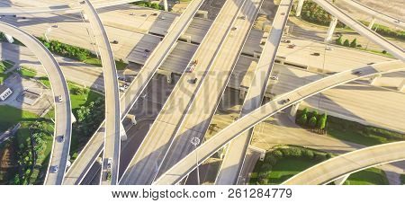 Panoramic Top Ninety Degree View Stack Interchange Expressway In Houston, Texas, Usa