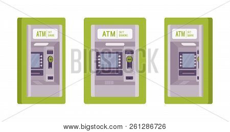Atm Built In A Green Wall. Automated Teller Machine, Banking Service To Perform Safe Financial Trans