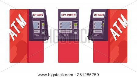 Automated Teller Machine In Red Color. Free-standing Atm For Customers, Electronic Banking Outlet, I