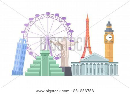 Maya Pyramid And Christ The Redeemer Statue, Landmarks Collection With Capitol, Big Ben, Eiffel Towe