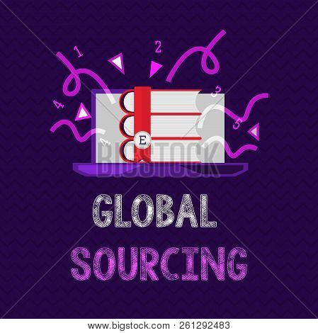 Handwriting Text Global Sourcing. Concept Meaning Practice Of Sourcing From The Global Market For Go