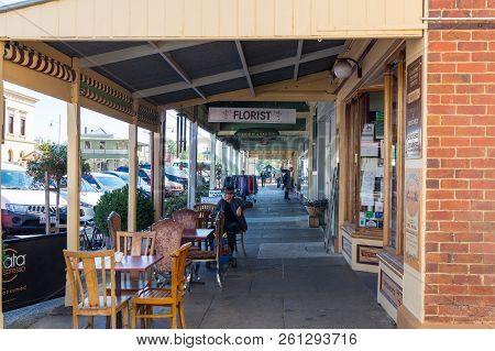 Beechworth, Australia - April 30, 2018: Retail Shops On Camp Street In Central Beechworth, A Histori