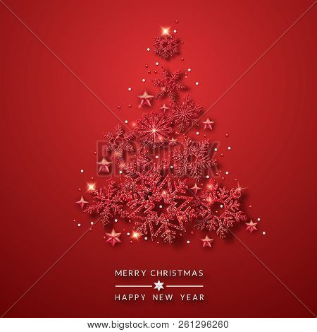 Christmas Tree Background With Shining Red Snowflakes, Stars And Balls. Merry Christmas Card Illustr