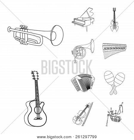 Isolated Object Of Music And Tune Symbol. Collection Of Music And Tool Stock Vector Illustration.