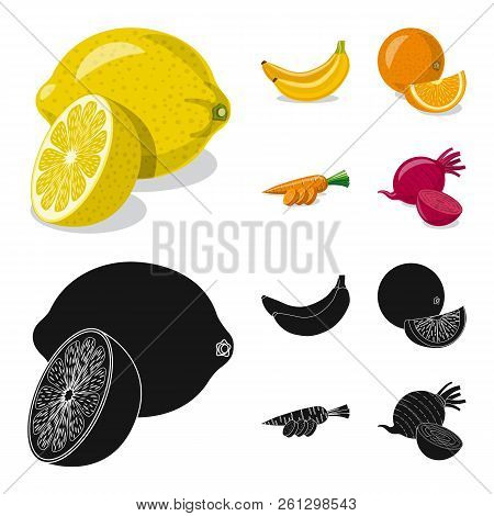 Vector Illustration Of Vegetable And Fruit Logo. Set Of Vegetable And Vegetarian Stock Vector Illust